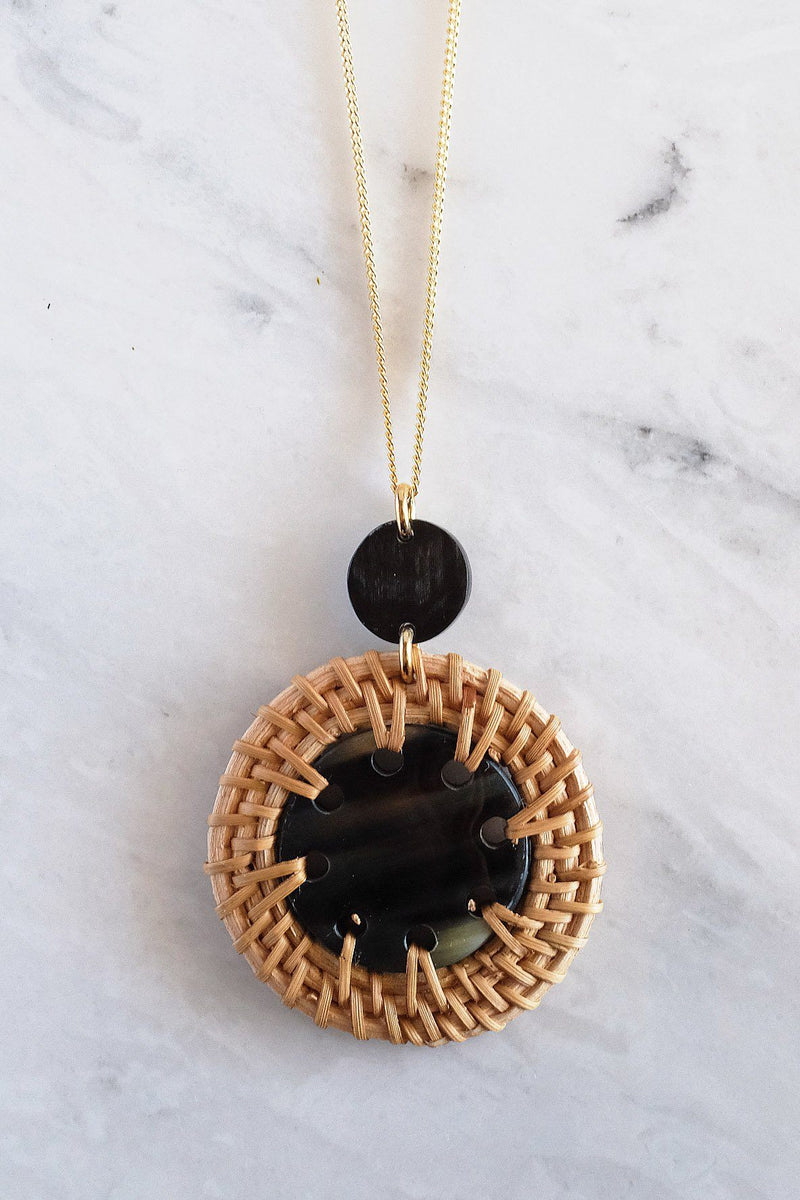 Thuy Binh Buffalo Horn & Handwoven Rattan Pendant Necklace - Handcrafted & Unique Buffalo Horn Jewelry