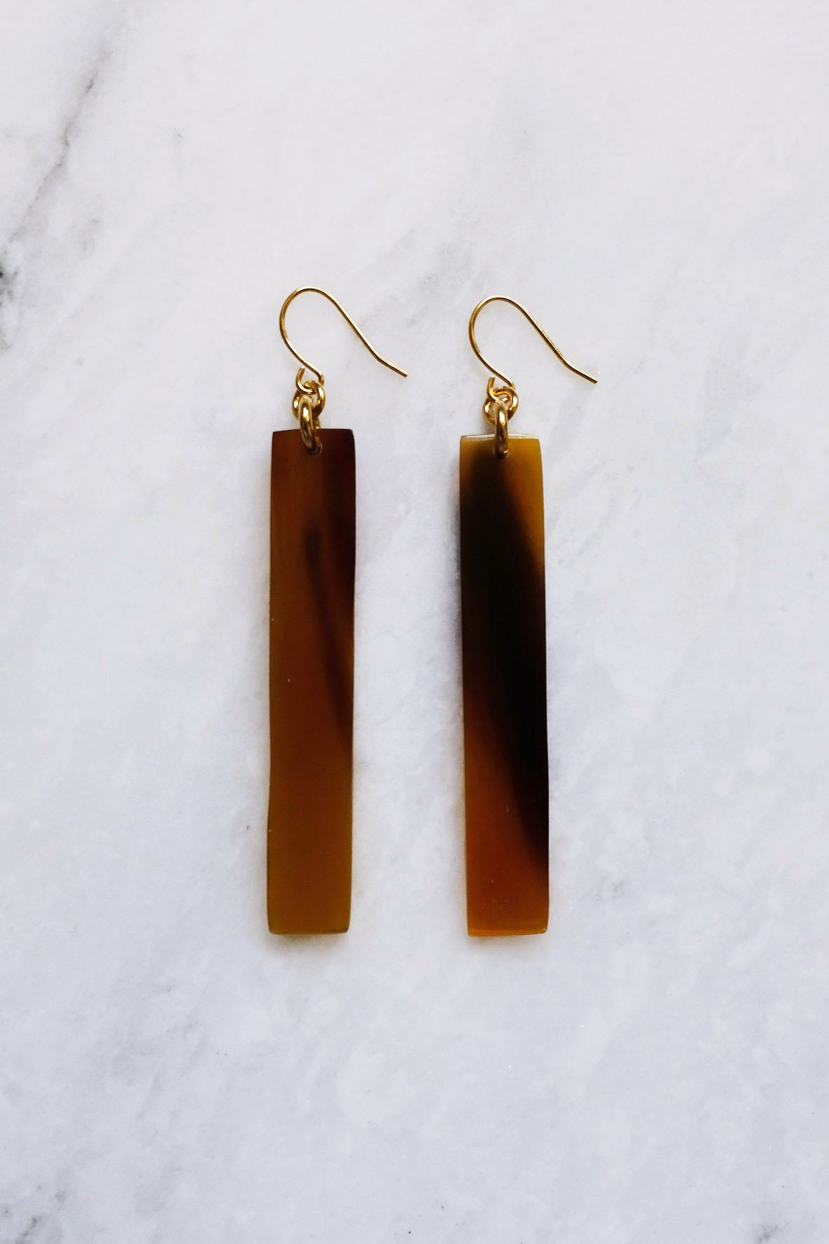 Tinh 16K Gold-Plated Brass Buffalo Horn Minimalist Bar Earrings - Handcrafted & Unique Buffalo Horn Jewelry
