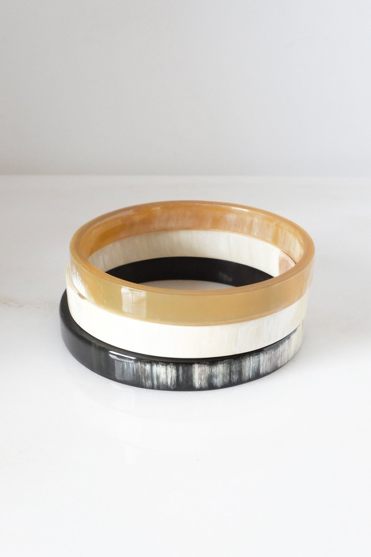 Tron Buffalo Horn Minimalist Bangle Bracelet (3pcs) - Handcrafted & Unique Buffalo Horn Jewelry