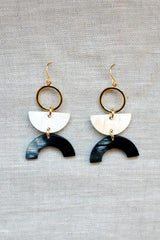 Vui Mung II Geo Buffalo Horn Dangle Earrings