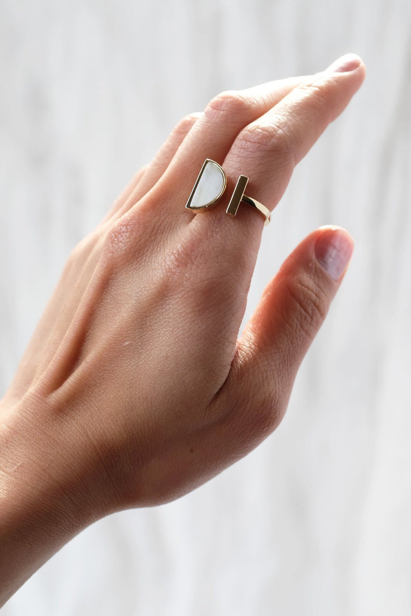 Ve Tinh 16K Gold-Plated Brass Buffalo Horn Crescent and Bar Ring - Handcrafted & Unique Buffalo Horn Jewelry