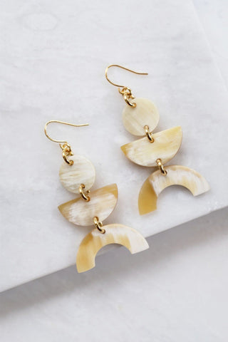 Saigon 16K Gold Plated Cream Geometric Statement Buffalo Horn Earrings