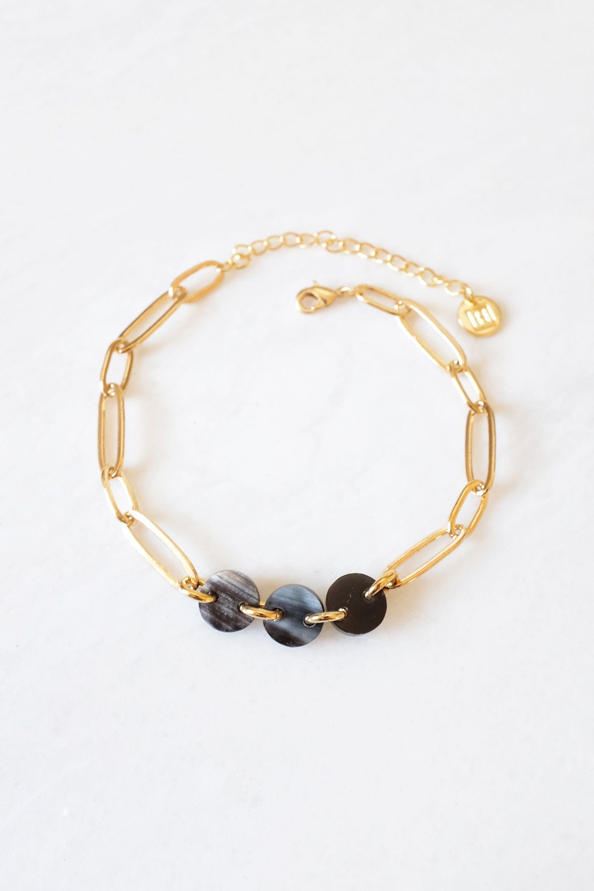 Xuan Buffalo Horn Thick Oval Link Chain Ankle Bracelet - Handcrafted & Unique Buffalo Horn Jewelry