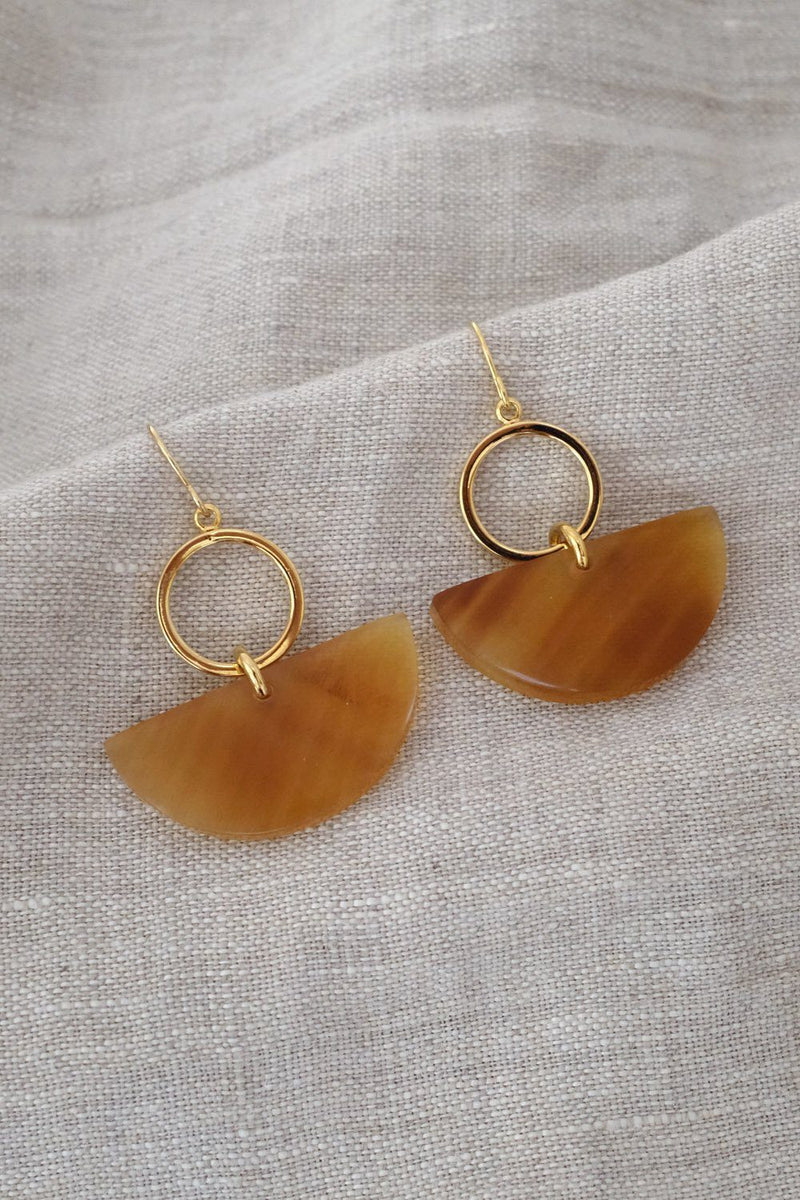 Yang Bay II Buffalo Horn Geometric Statement Dangle Earrings
