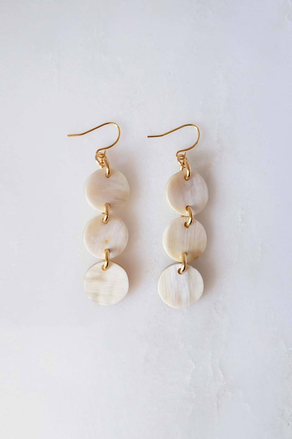 Yen Bai 16K Gold-Plated Brass Buffalo Horn Circle Drop Earrings - Handcrafted & Unique Buffalo Horn Jewelry