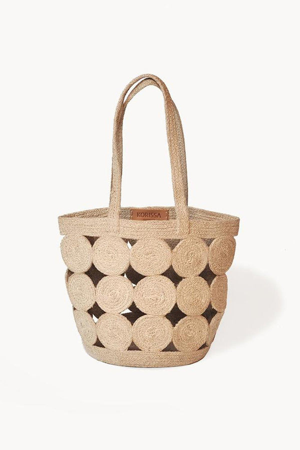 Agora Handwoven Natural Jute Pompom Tote Bag