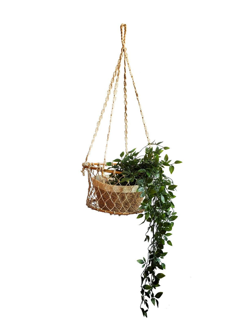 Jhuri Single Hanging Wood and Braided Jute Baskets