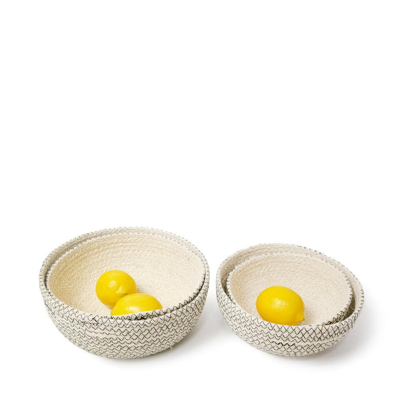 Amari Handwoven Jute Round Bowl - Black (Set of 4)