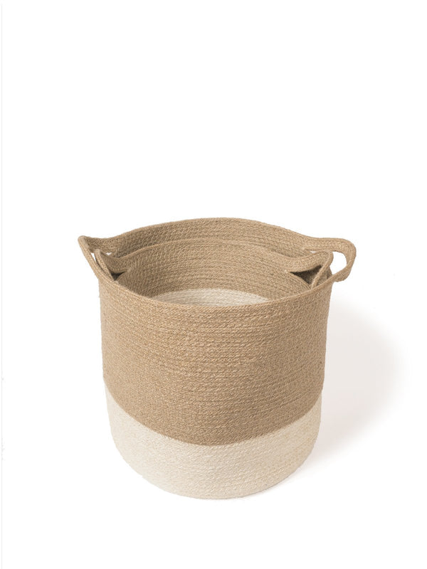 Korissa Agora Handwoven Jute Baskets (Set of 2) - Handcrafted & Unique Buffalo Horn Jewelry