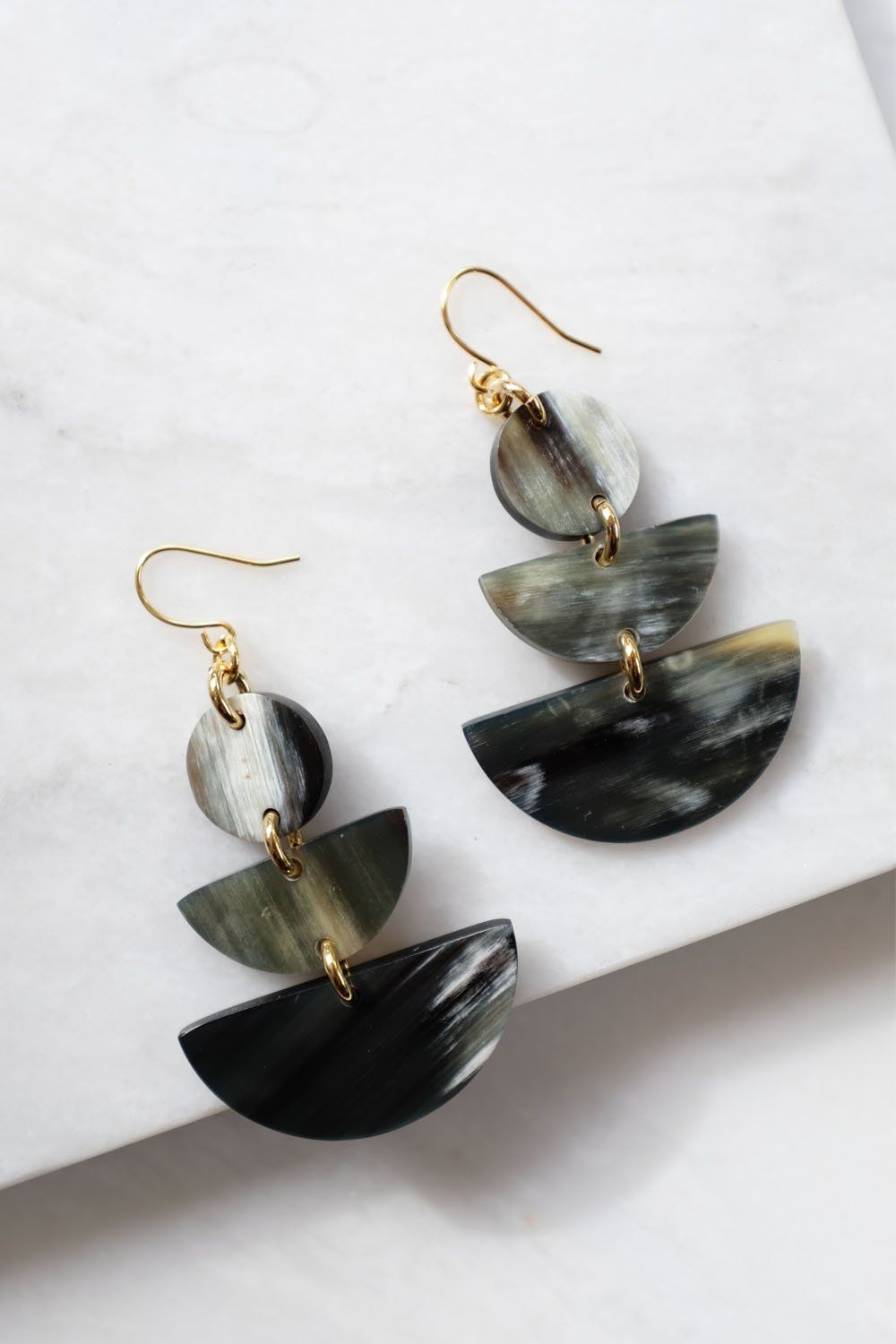 Saigon 16K Gold Plated Cream Geometric Statement Buffalo Horn Earrings - Handcrafted & Unique Buffalo Horn Jewelry