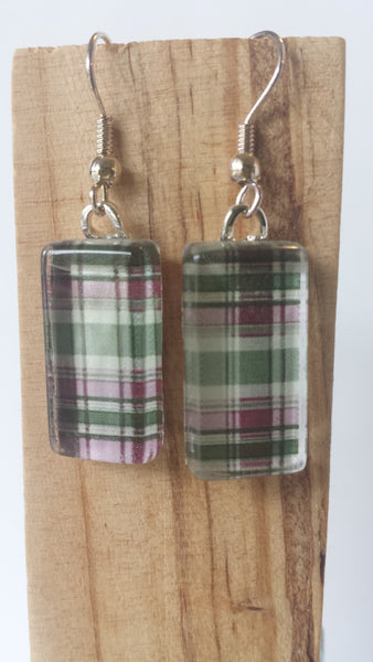 Pink and Green Plaid Earrings