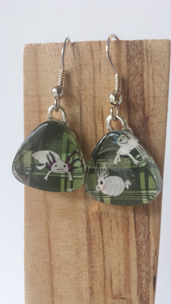 Underwater Unexpected Earrings - Dark green plaid