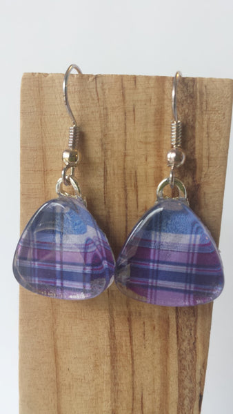 Purple Plaid Earrings
