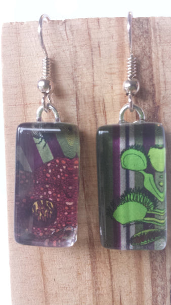 Insectivore Stripe Earrings - Corpse Flower and Venus Fly-Trap