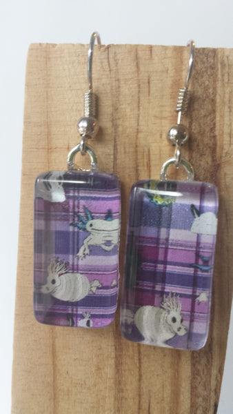 Underwater Unexpected Earrings - Purple Plaid