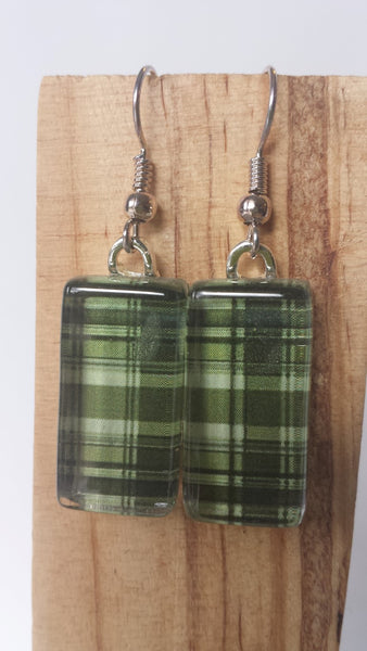 Dark Green Plaid Earrings