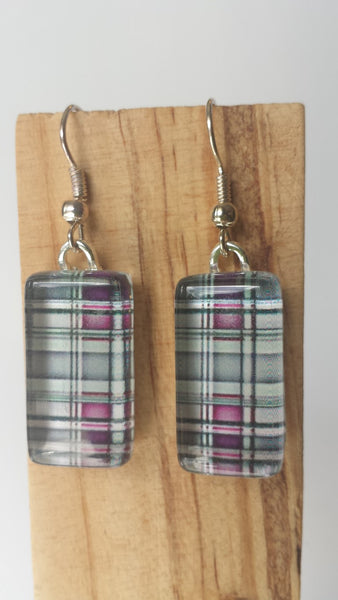 Pink and Grey Plaid Earrings