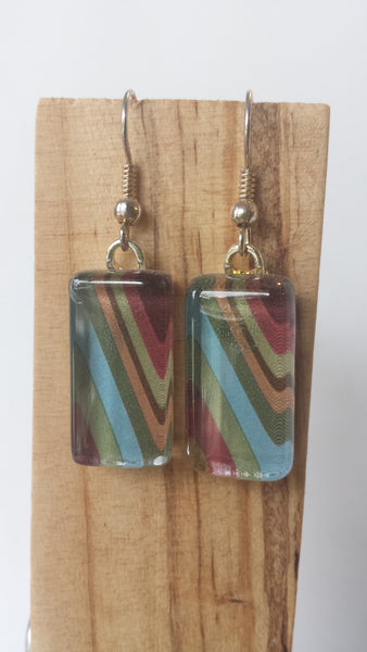 Retro Stripe Earrings - Diagonal