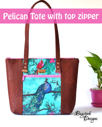 Pelican Tote with top zipper