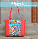 Pelican Tote with recessed zipper & fancy straps