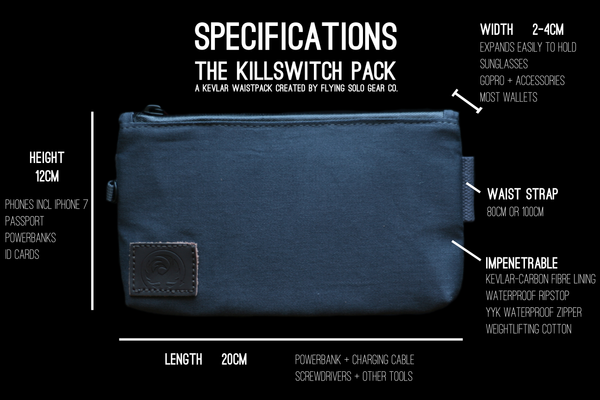 Specs and dimensions of the Killswitch Pack by Flying Solo Gear Co