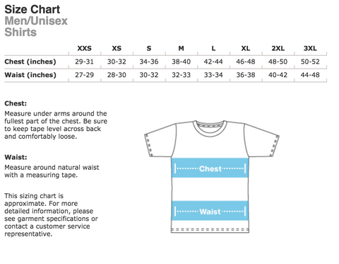 Men's size chart tee t-shirts Flying Solo Gear Co