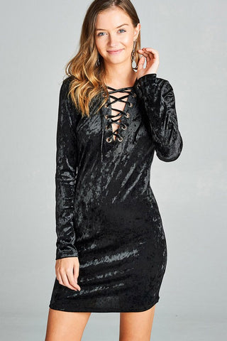 Walk the Line Crushed Velvet Bodycon Dress (BLACK)