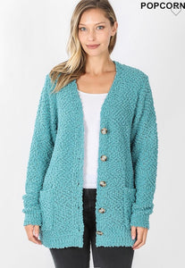 Popcorn Button-up Sweater (Dusty Teal) Regular & Plus