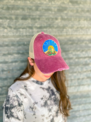 Desert Sunset Hand Painted Cap