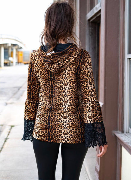 Lady Leopard Lace Sleeve Hoodie