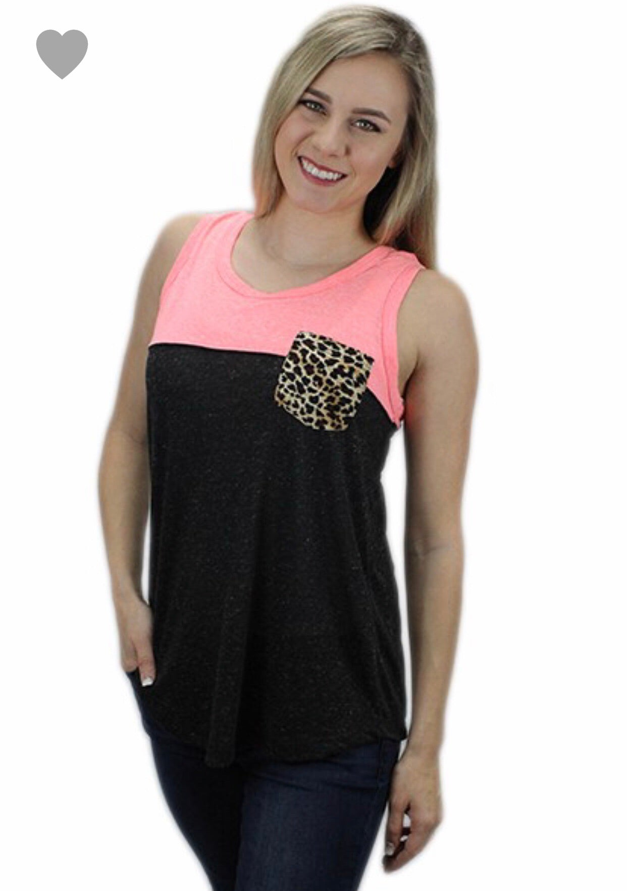 Color Block Tank with leopard pocket