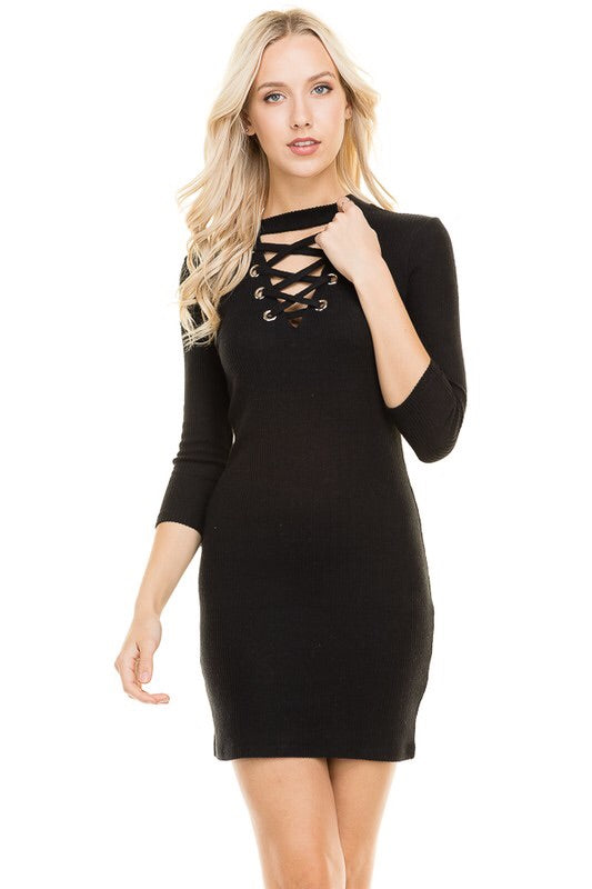 Lace-up Rib Dress