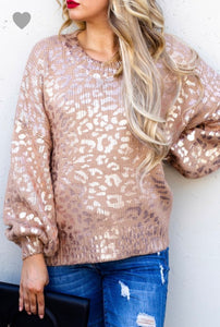 Metalic Leopard Sweater Taupe