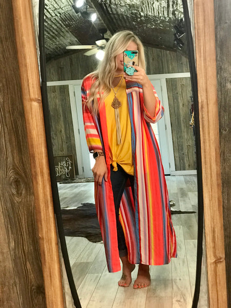Senita Striped Neon Duster