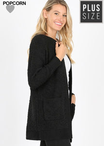 Black Popcorn Cardigan (Plus)
