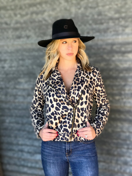 Leopard Zip Up Moto Jacket