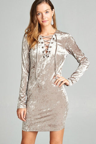 Walk the Line Crushed Velvet Bodycon Dress (GREY)