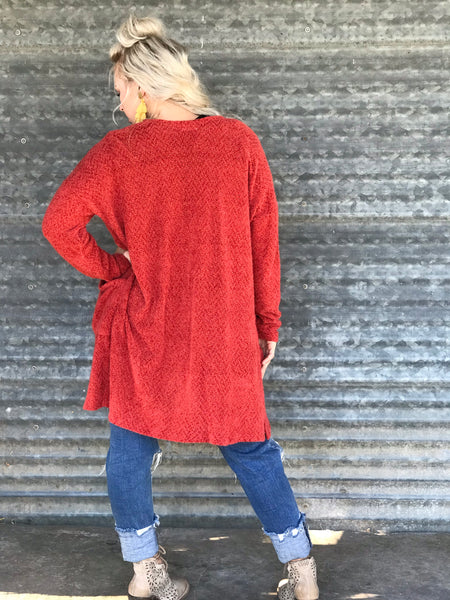 Fuzzy Paprika Sweater Cardigan
