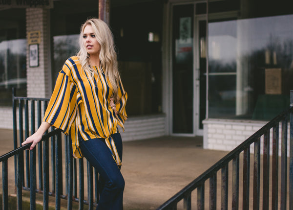 Missing You Crazy Striped Mustard Blouse