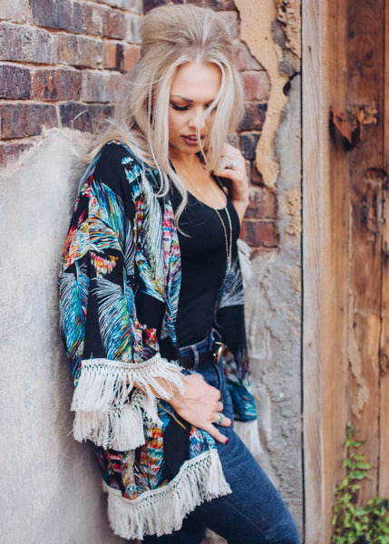 Fine as a Feather Fringe Kimono