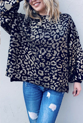 Metalic Leopard Sweater Black