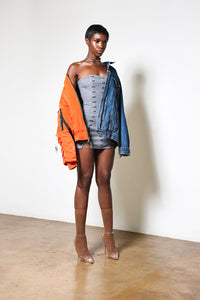 Orange Bomber // Blue Denim jacket remix // WOMEN