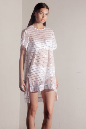 Angel Crystal mesh top - white //