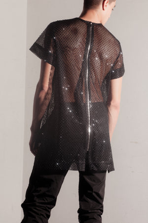 Angel Crystal mesh top - black ///