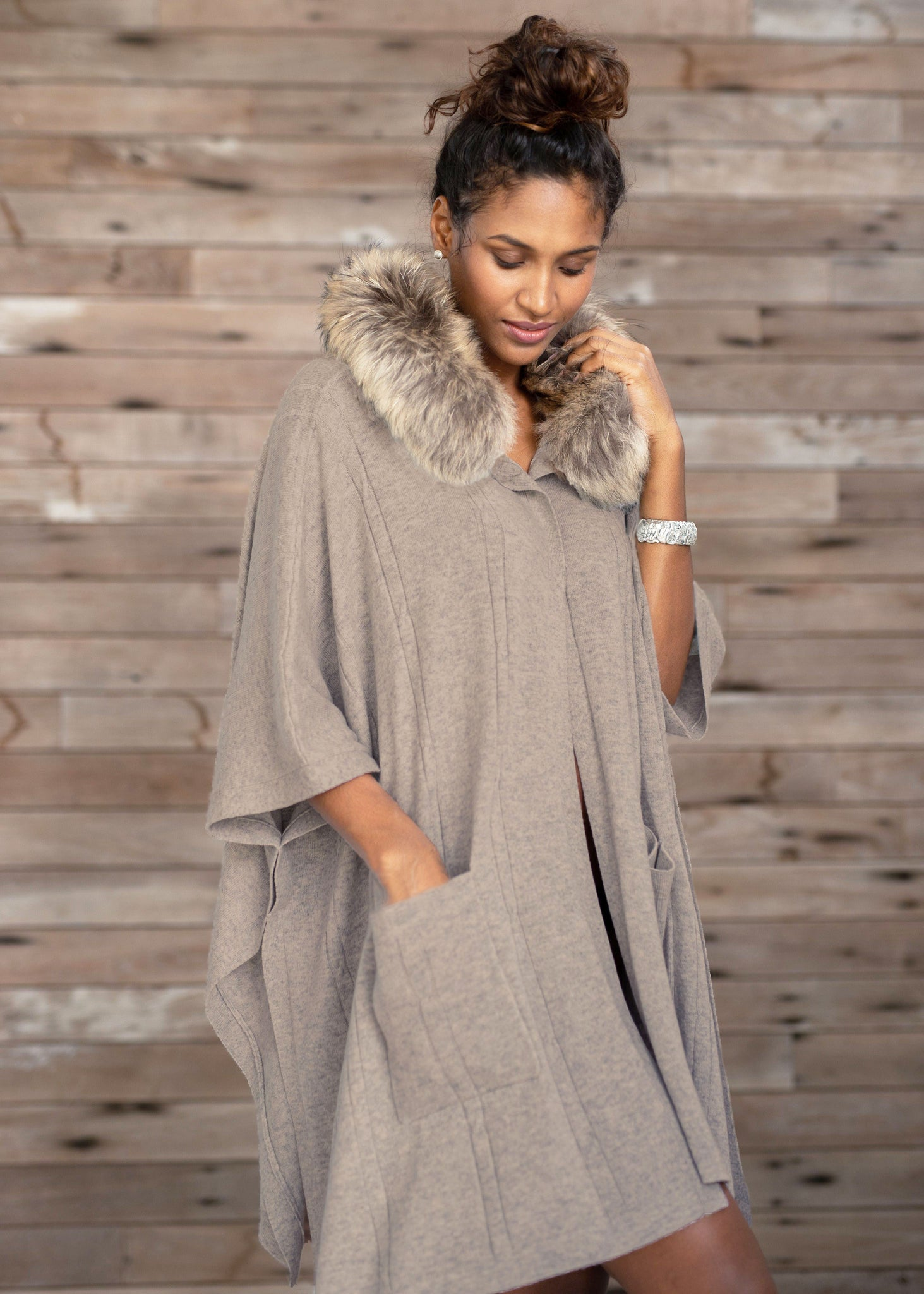 KATE | Our fur-lined hooded cape