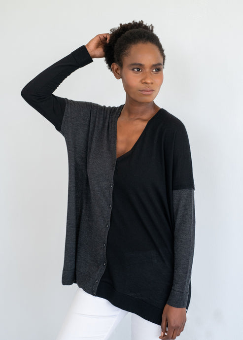 BEA | Our two-tone  ultra-fine cardigan
