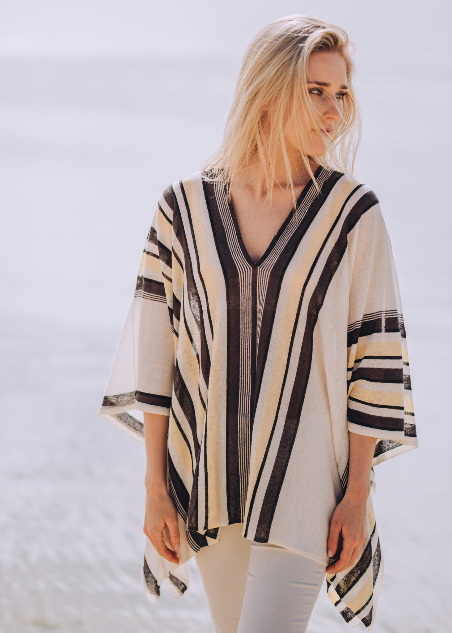 RONJA | Our fine linen mix stripe poncho