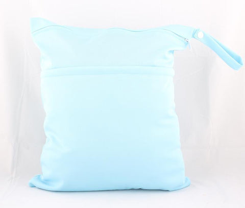 Personalised Pastel Blue Waterproof Wet Bag - Little One Layette