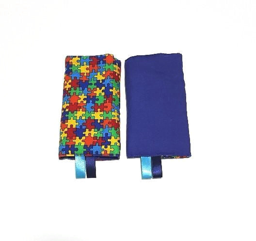 RTS - Straight Drool pads with Colorful Jigsaw Puzzle and Solid Blue in Reverse - Little One Layette