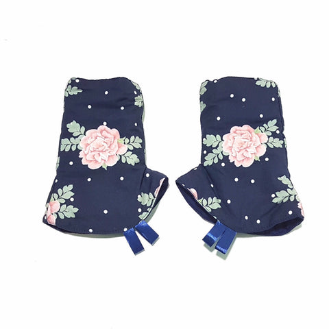 Curved drool Pads Inspired Blossom and Solid Navy in reverse - Little One Layette